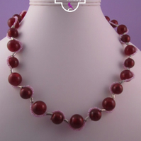 Red Pink Short Necklace