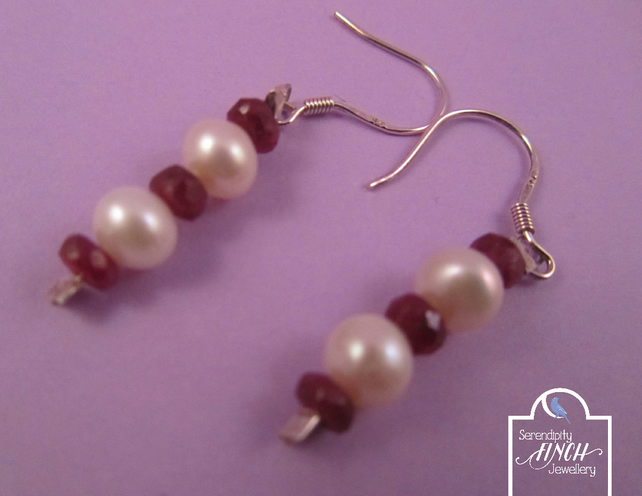 Ruby Pearl Earrings with Silver