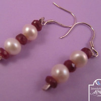 Red Ruby White Pearl Earrings with 925 Silver