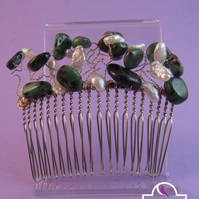 Green Ruby Zoisite Pearl Hair Comb