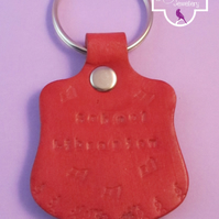 School Librarian Red Leather Keyring, Hand Stamped Leather Keyring