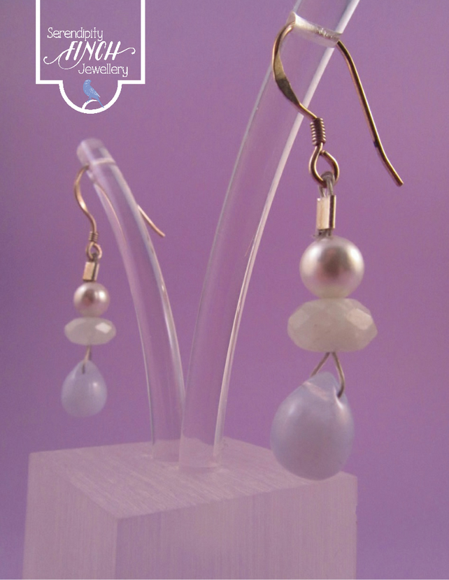 Pastel Gemstone Earrings with Silver