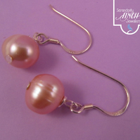 Peach Pearl Earrings with Silver
