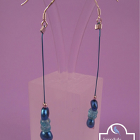 Sky Blue Apatite Pearl Dangle Earrings