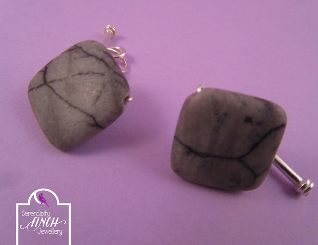 Grey Spiderweb Jasper Square Cufflinks, Grey Cuff Links, Jasper Cuff Links