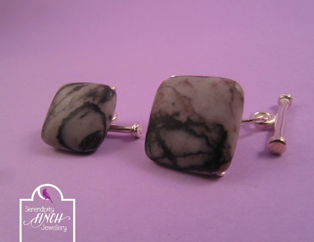 Grey Black Jasper Square Cufflinks