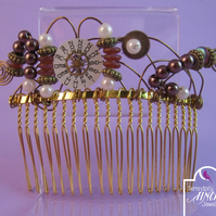 Steampunk Valve Brown White Gold Hair Comb