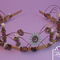 Steampunk Valve Brown White Gold Coloured Tiara