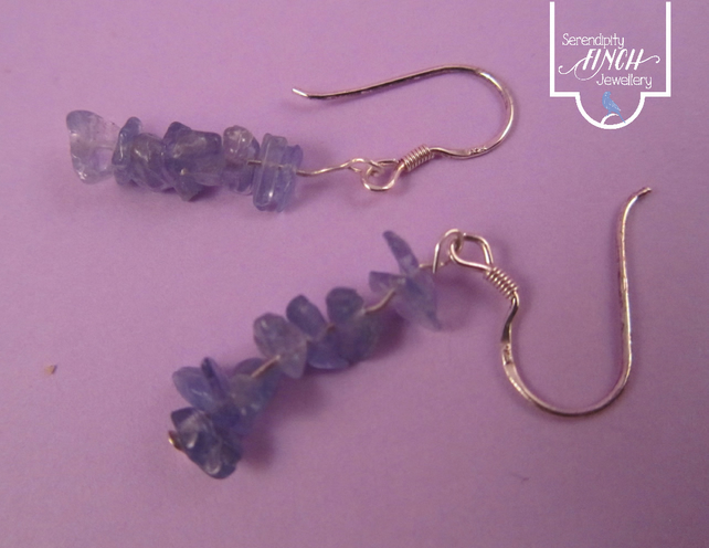 Blue Tanzanite Earrings with Silver