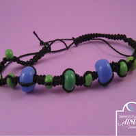 Black, Blue Green Macrame Thin Bracelet