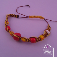 Red Yellow Macrame Thin Bracelet