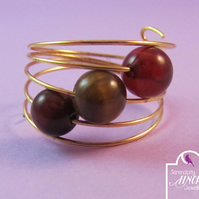 Tiger's Eye Ring, Brown Ring, Tiger's Eye Gold Memory Wire Ring