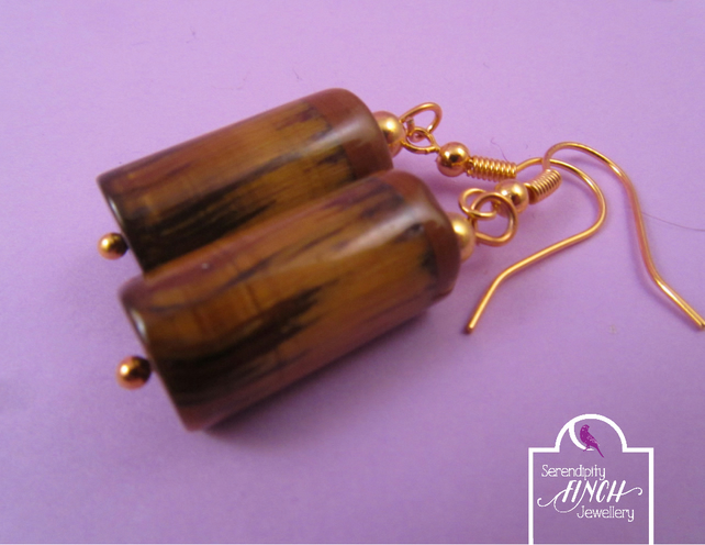 Brown Tigers Eye Tube Dangle Earrings