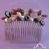 Pink, Black Tourmaline Pearl Hair Comb