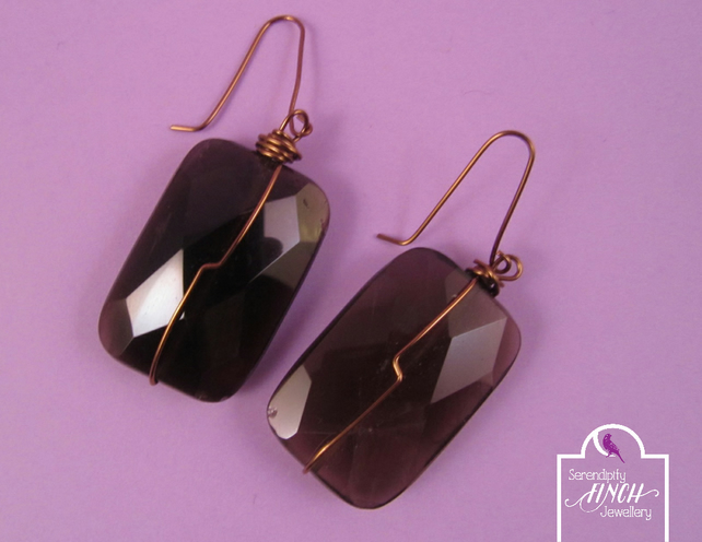 Brown Smokey Quartz Rectangle Earrings