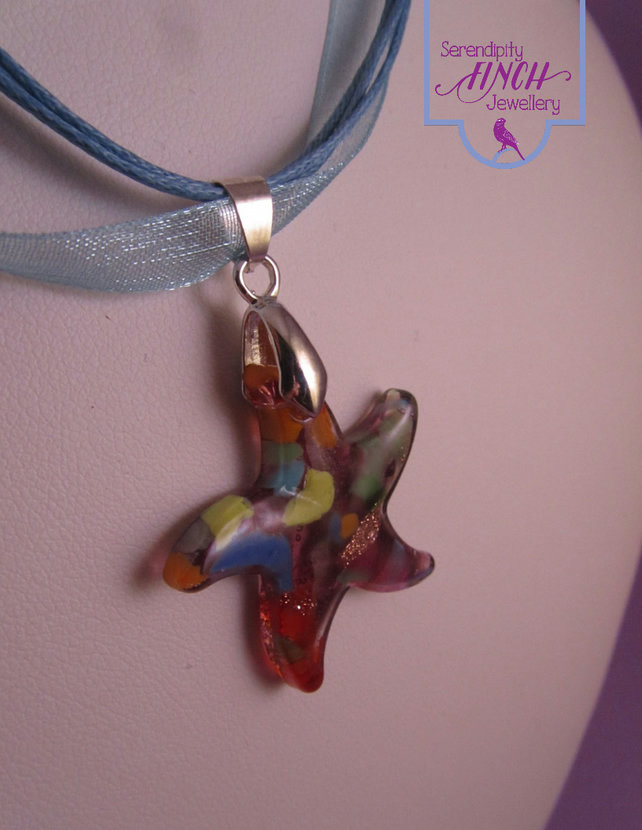 Lilac Glass Star Pendant Blue Necklace, Star Necklace, Blue Ribbon Necklace