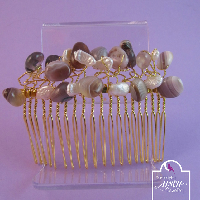 Brown Botswana Agate White Keshi Pearls Hair Comb