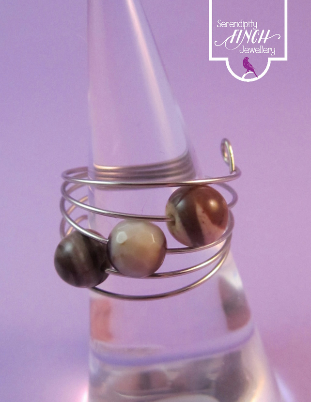 Brown Agate Silver Ring, Brown Ring, Adjustable Ring