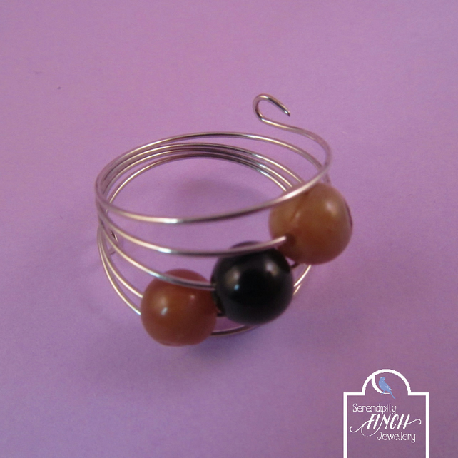 Brown Black Agate Silver Memory Wire Ring, Brown Ring, Black Ring, Agate Ring