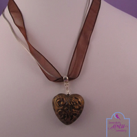 Gold Brown Heart Pendant Brown Ribbon Necklace