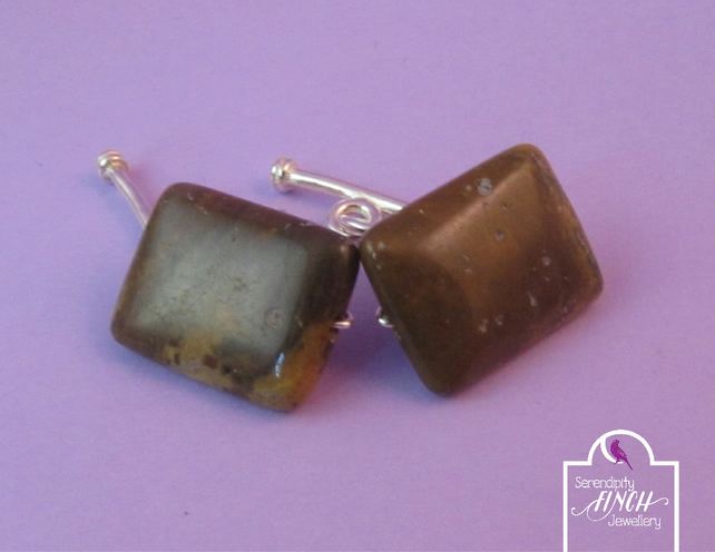 Brown Fossil Jasper Cuff Links, Brown Cuff Links, Gemstone Cuff Links