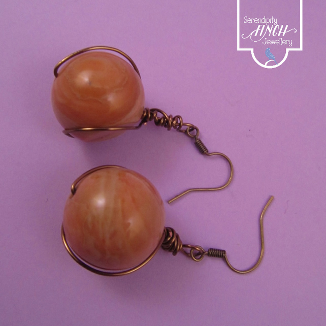 Brown Jasper Dangle Earrings