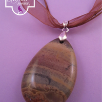 Brown Jasper Pendant Necklace, Brown Jasper Necklace, Jasper Ribbon Necklace