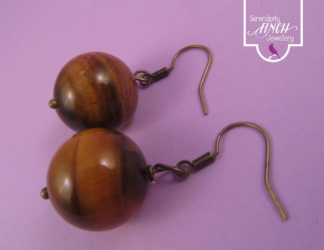 Brown Tigers Eye Antique Bronze Earrings