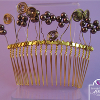 Art Nouveau Style Brown Flower Gold Hair Comb