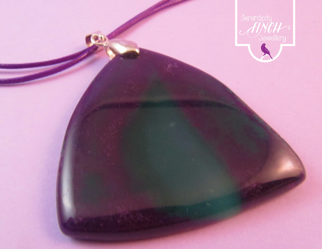 Purple Green Agate Pendant Necklace, Purple Necklace, Agate Necklace