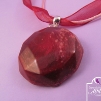 Red Jewel Enamel Pendant Ribbon Necklace