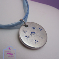 Dandelion Wish Necklace, Hand Stamped Aluminium Necklace, Blue Necklace