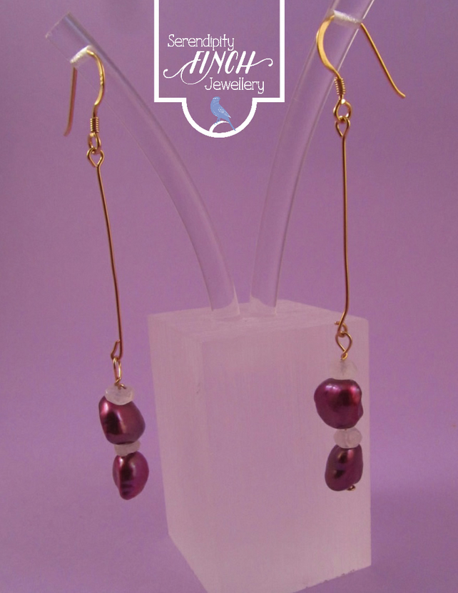 Dark Pink Pearl Rainbow Moonstone Dangle Earrings