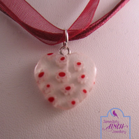 Glass Heart Red Ribbon Short Necklace