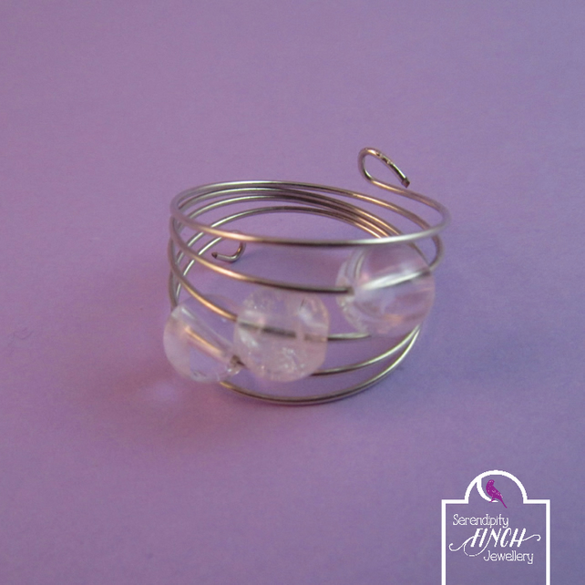 Clear Quartz Silver Memory Wire Ring, Quartz Ring, Wire Ring, Clear Ring