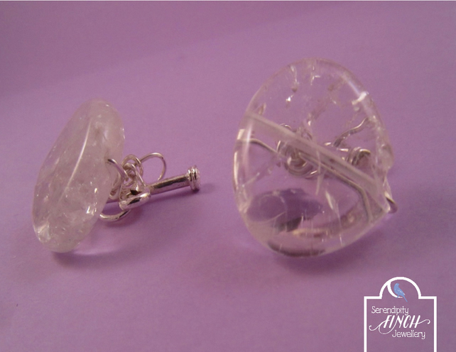 Clear Crackled Quartz Cuff Links with a Hint of Yellow, Clear Cuff Links