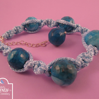 Light Blue Crazy Agate Twist Macrame Bracelet