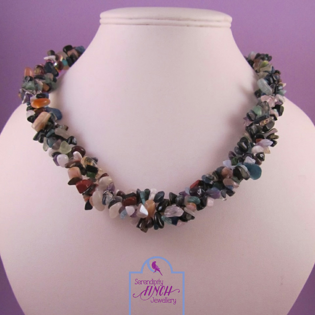 Multi Colour Gemstone Necklace with Antique Bronze Features