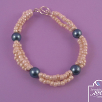 Blue Cream Faux Pearl Bracelet
