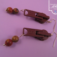Brown Zip Earrings with Chinese Bloodstone