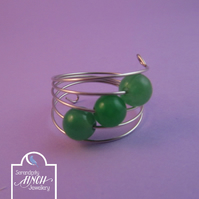 Green Agate Silver Memory Wire Ring, Green Ring, Agate Ring