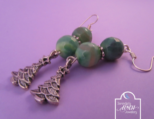 Green Agate Small Christmas Tree Earrings