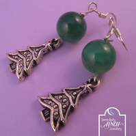 Green Agate Christmas Tree Earrings