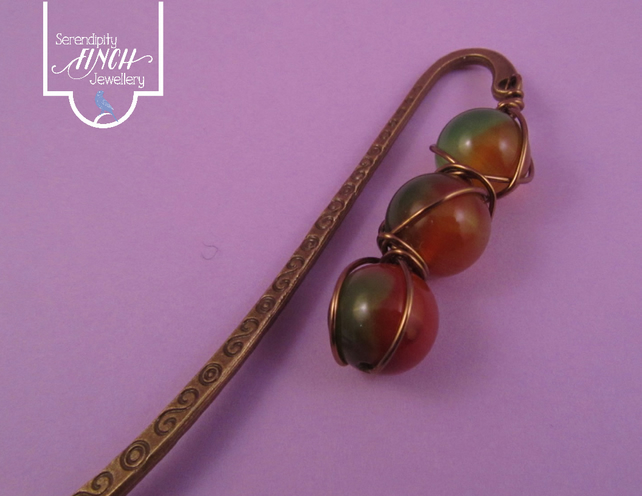 Green Orange Agate Wire Wrapped Bookmark