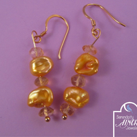 Gold Pearl Citrine Earrings with Gold Plated 925 Silver