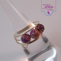 Purple Jasper Rose Gold Memory Wire Ring, Purple Ring