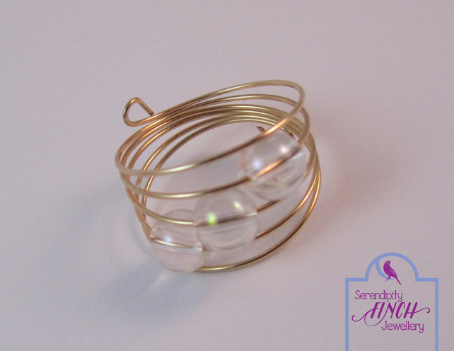 Clear Quartz Ring, Rose Gold Ring, Memory Wire Ring