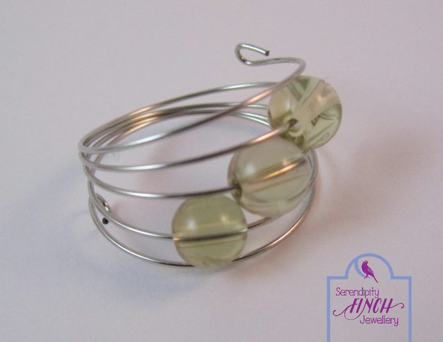 Yellow Quartz Ring, Silver Memory Wire Ring, Yellow Ring