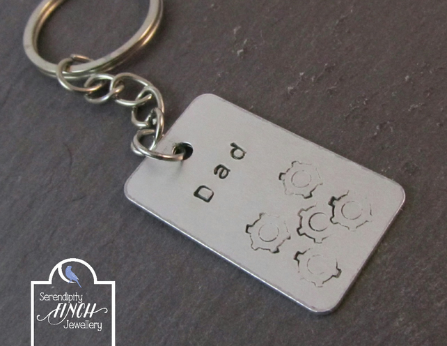 Dad Gears Keyring, Dad Steampunk Keyring, Hand Stamped Keying