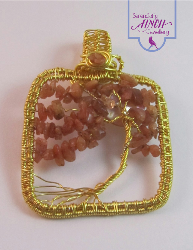 Sunstone Tree of Life Pendant, Wirework Pendant, Tree Pendant